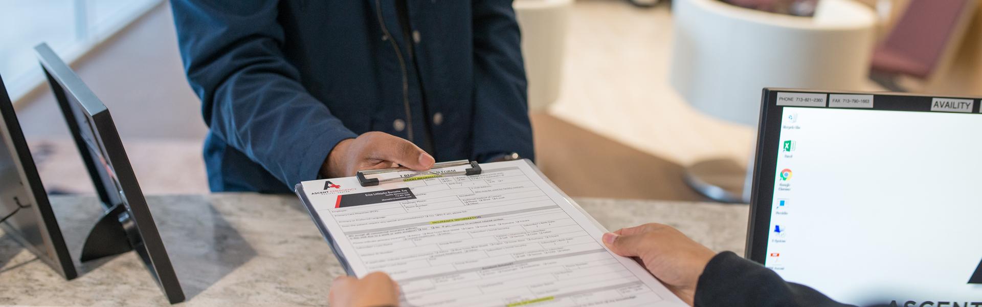 paperwork for patient